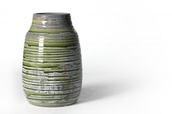 Vase geringelt, aus Steingut, grün/grau, Ø 15 cm, H 22 cm