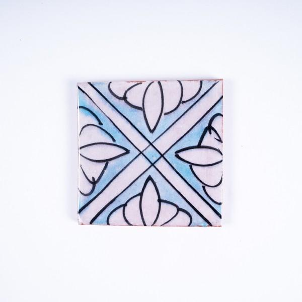 "Fliese ""4 fleurs"", weiß/türkis, L 10 cm, B 10 cm, H 1cm"