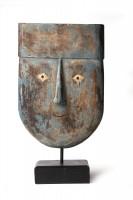afrikanische Maske, blau, braun, T 21 cm, B 13 cm, H 38 cm