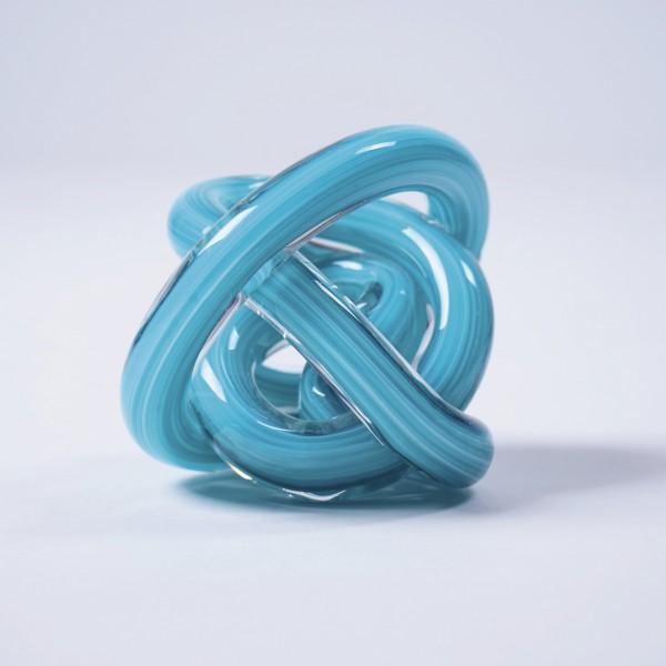 "Deko-Objekt ""Knoten"", aus Glas, türkis, Ø 9 cm"