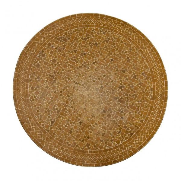 Mosaiktisch rund, braun/beige, H 75 cm, Ø 90 cm