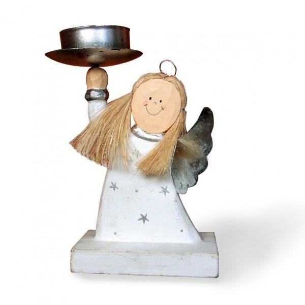 """Teelichthalter """"Engel"""", weiß, l 4,5 cm. B 8,5 cm, H 16 cm"""