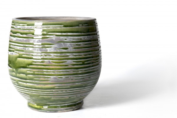 Pflanztopf geringelt, aus Steingut, grün/grau, Ø 21 cm, H 20 cm
