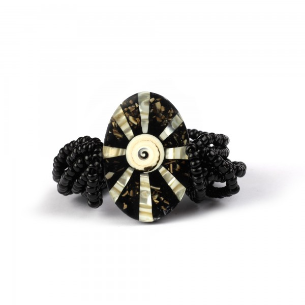 Armband 'Muschel', schwarz, T 5 cm, B 9 cm, H 7 cm