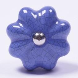 "Keramik Möbelknopf ""Blume"", handglasiert, blau, Ø 4 cm"