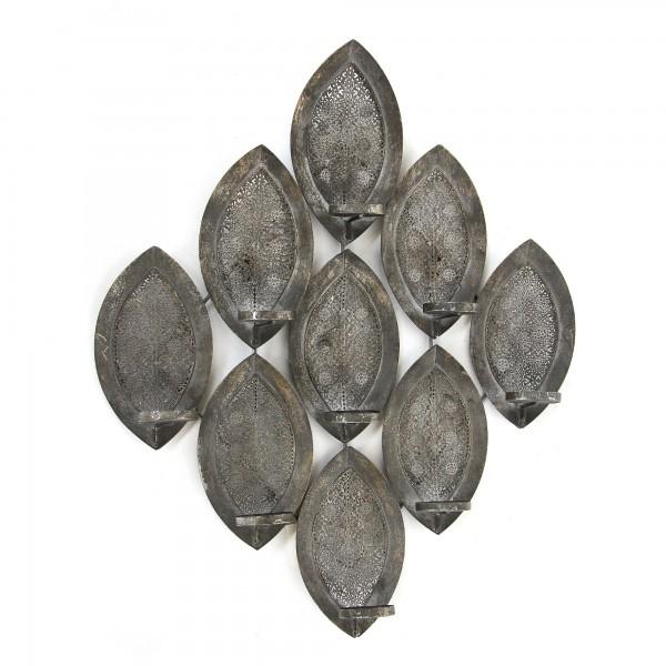 Wandkerzenhalter 'Avatoru', silbergrau, T 10 cm, B 58 cm, H 71 cm