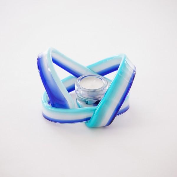 Teelichthalter aus Glas, blau, Ø 16 cm, H 12 cm