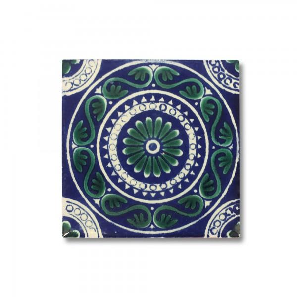 Kachel 'Veracruz', blau, grün, weiß, T 10 cm, B 10 cm, H 0,5 cm