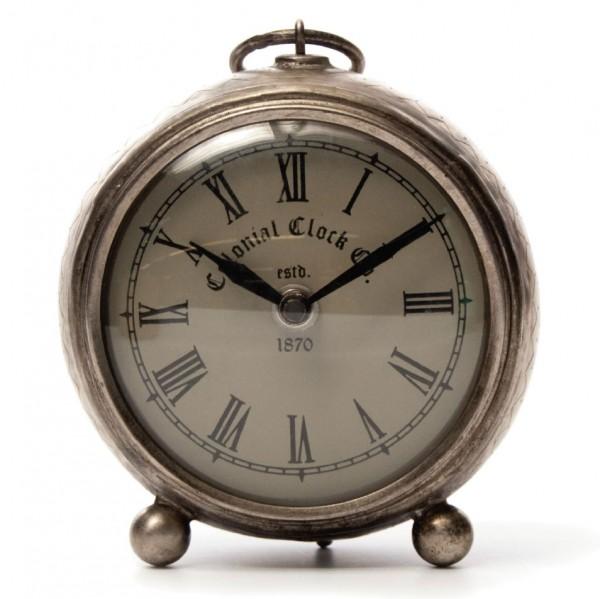 """Uhr """"Colonial"""" klein, vernickelt, silber, L 6 cm, Ø 19 cm"""