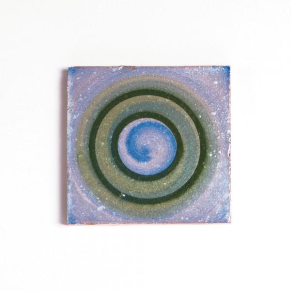 handglasierte Kachel 'rond', multicolor, T 10 cm, B 10 cm, H 1 cm