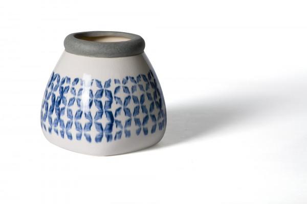 Vase, aus Steingut, blau/weiß, Ø 14 cm, H 13 cm
