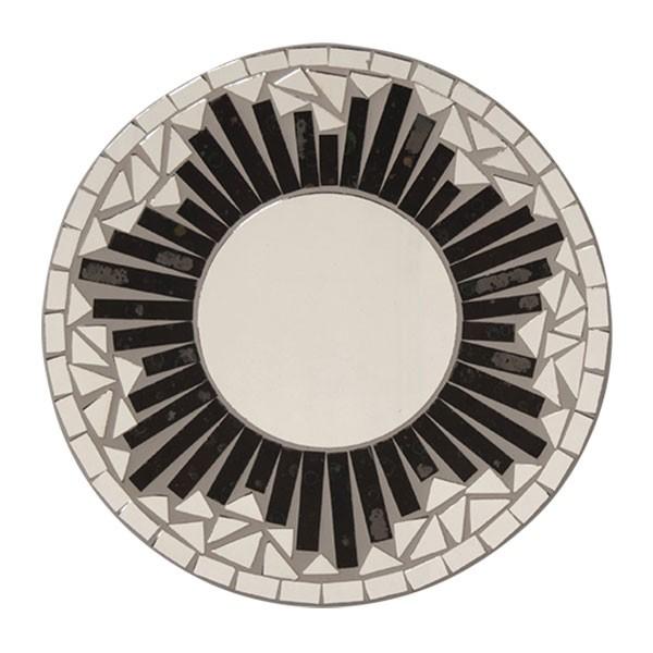 """Mosaik-Spiegel """"Grass"""", schwarz/weiß, Ø 20 cm"""