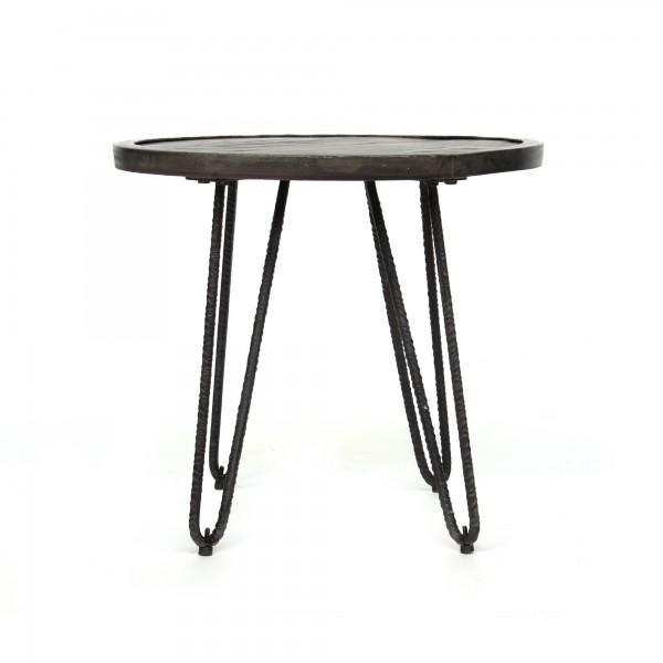 Beistelltisch 'Helia', natur, schwarz, Ø 50 cm, H 46 cm