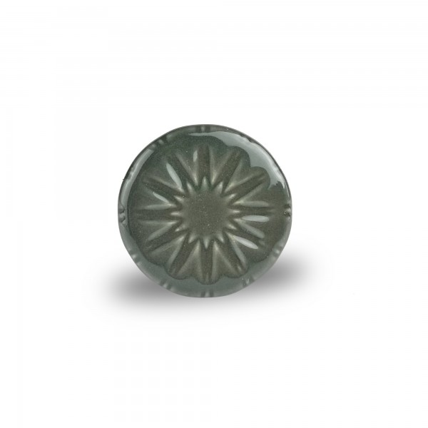 Keramik-Knauf 'Sternblume', grau, Ø 4 cm, H 2,5 cm