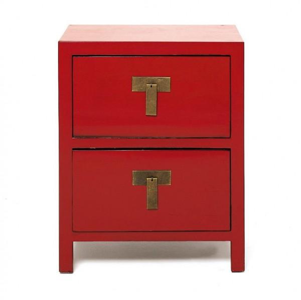 Kommode mit 2 Schubladen, rot, H 76 cm, B 60 cm, T 45 cm