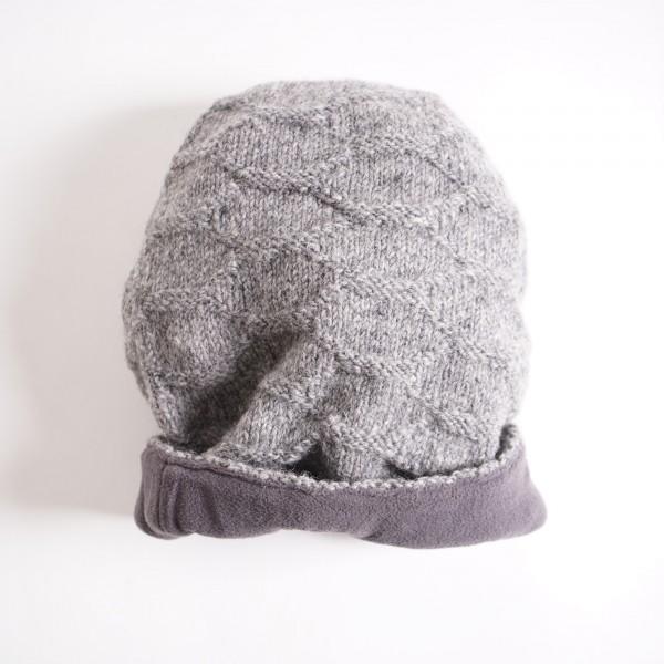 Beanie-Mütze, grau, handgestrickt in Nepal