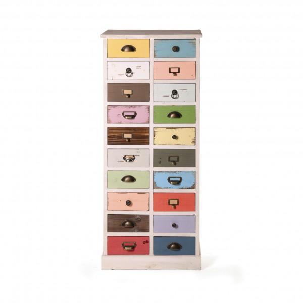"""Schubladenschrank """"Wiebke"""", mit 20 Schubladen, multicolor, T 33 cm, B 55 cm, H 128 cm"""