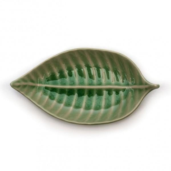 """Schüssel """"Blatt"""", grün, L 21 cm, B 11 cm"""