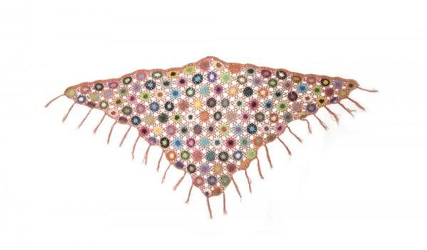 Dreieckiges Häkeltuch, lachs/multicolor, L 165 cm, B 85 cm