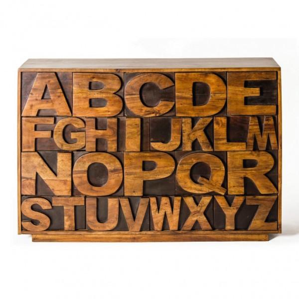 "Schubladenkommode ""ABC"" aus Akazienholz, braun, L 30 cm, B 120 cm, H 80 cm"