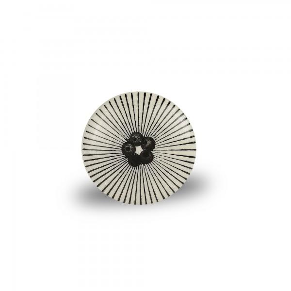 Türknauf 'Strahlen' ,rund, weiß/schwarz, Ø 4 cm