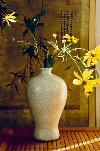Keramikvase 'Craquelé', grau, Ø 21 cm, H 34 cm