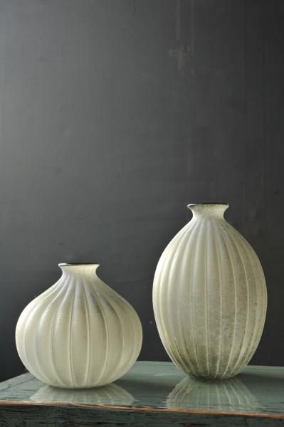 """Glasvase """"Rodesse"""" gefrostet, grau, Ø 20 cm, H 20 cm"""