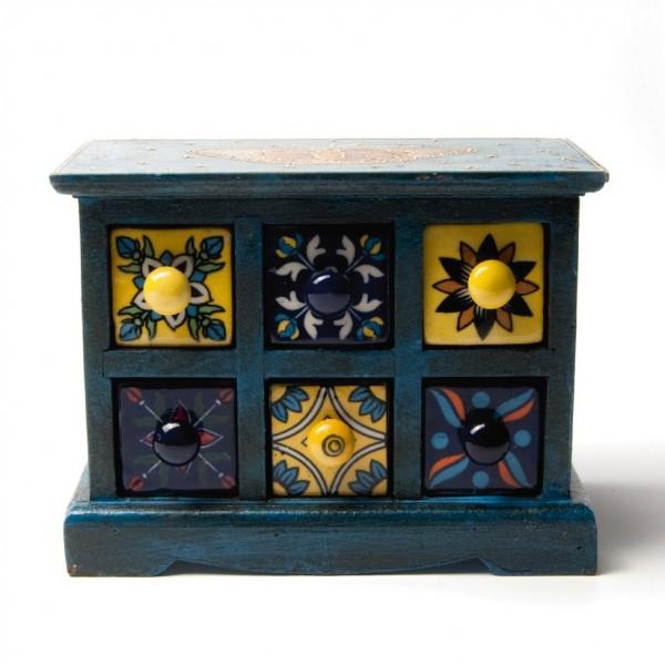 Schmucktruhe mit 6 Schubladen, blau, L 12 cm, B 23 cm, H 18 cm