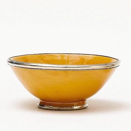 Keramikschale mit Metallverzierung, gelb, H 9,5 cm, Ø 20 cm