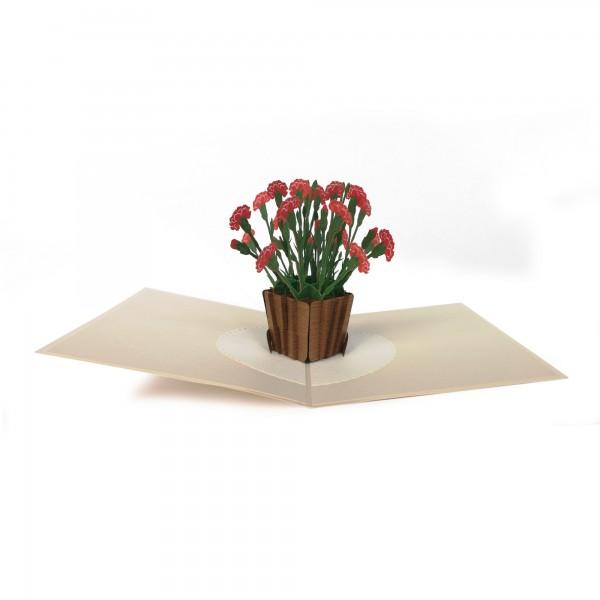 Pop Up Karte 'Nelken', rot, T 18 cm, B 13 cm