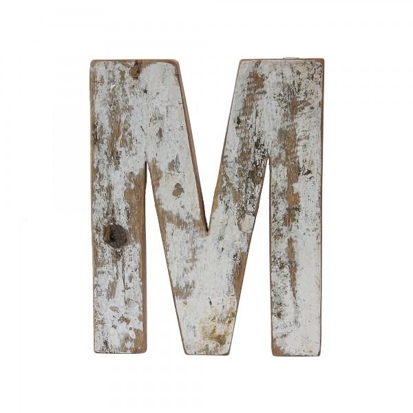 Holzbuchstabe 'M', mehrfarbig, T 2,5 cm, B 13 cm, H 19 cm