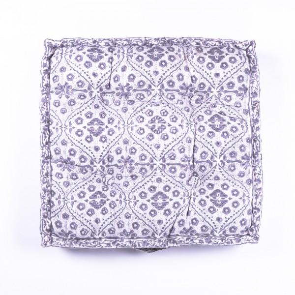 "Sitzkissen ""Chunni"", manuelles Blockprintverfahren, L 48 cm, B 48 cm, H 10 cm"