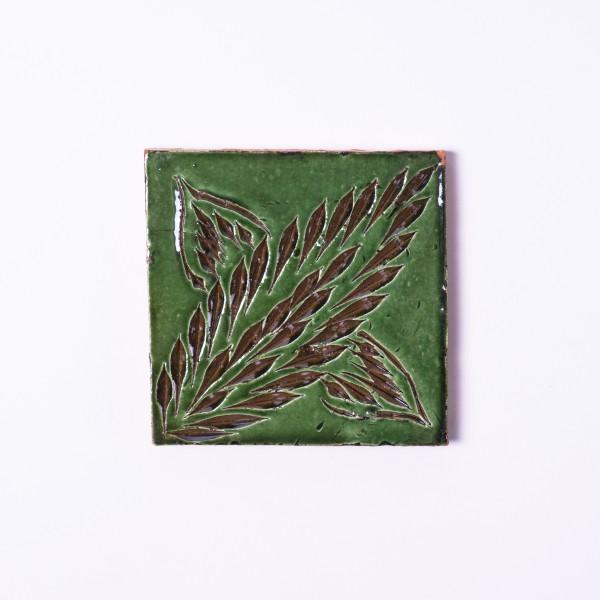 """Geprägte Fliese """"Côte des plantes vert"""", grün, L 10 cm, B 10 cm"""