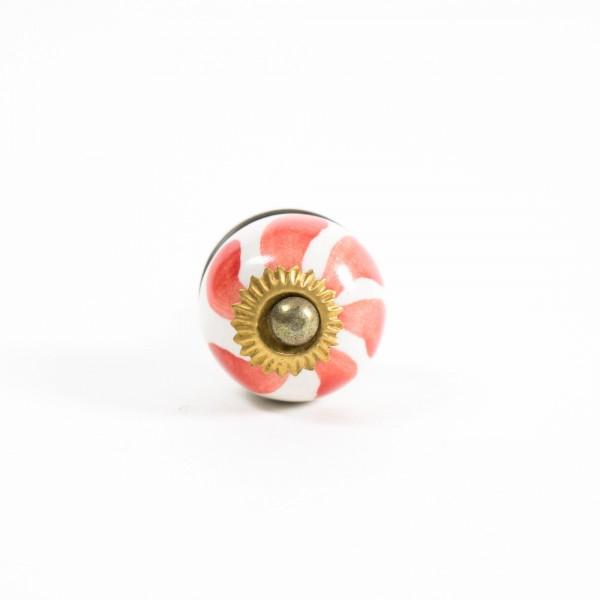 Keramik Möbelknopf rund, handglasiert, rot/weiß, Ø 3 cm