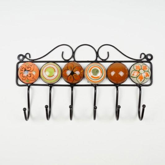 Wandhaken 6fach, handglasiert, braun, orange, L 27 cm, B 4,5 cm, H 15 cm
