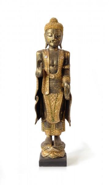 Buddhaskulptur stehend, aus Akazienholz, B 23 cm, H 80 cm