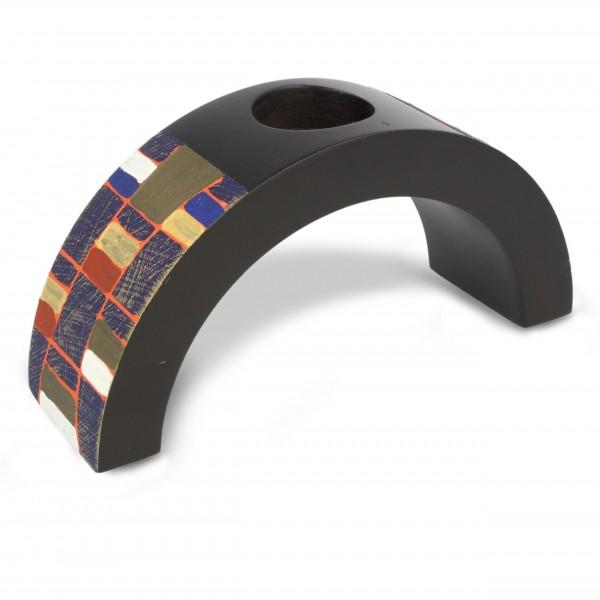 Teelichthalter klein, schwarz/multicolor, L 6,5 cm, B 20 cm, H 10 cm