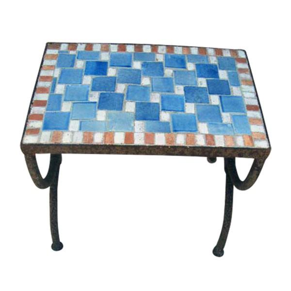 """Mosaiktisch """"Echec"""", blau, L 30 cm, B 46 cm, H 44 cm"""