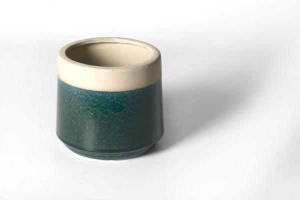 Pflanztopf, aus Steingut, grün, Ø 15 cm, H 14 cm