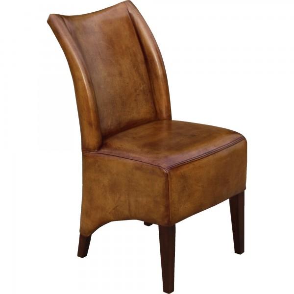 Lederstuhl 'Lombardo', braun, L 47 cm, B 45 cm, H 92 cm