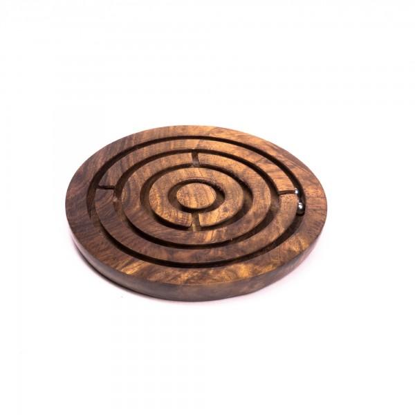 Kugellabyrinth-Spiel aus Palisanderholz, braun, Ø 10 cm