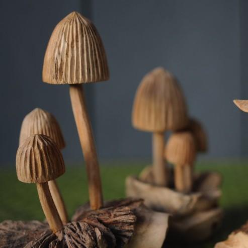 Hutpilze aus Holz, braun, Ø 9 cm, H 12 cm