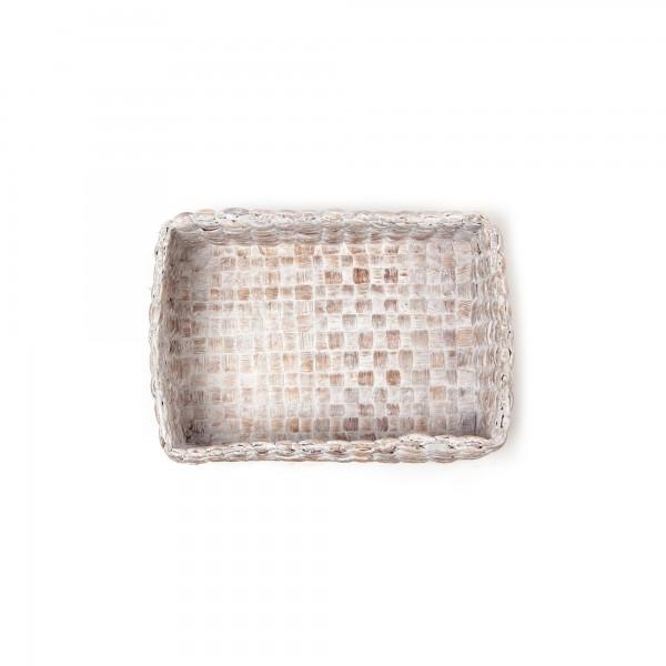 """Korb """"White wash S"""", aus Wasserhyazinthe, geweißt, L 15 cm, B 21 cm, H 9 cm"""