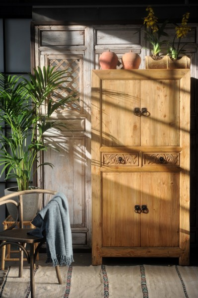 Schrank 'Ron', 2 Schubladen, 4 Türen, natur, T 45 cm, B 90 cm, H 180 cm