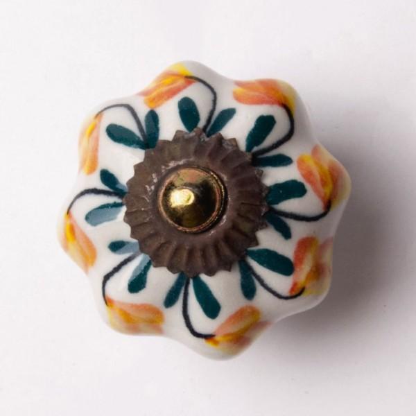 """Türknauf """"Blume"""", grün/orange, Ø 4,5 cm"""