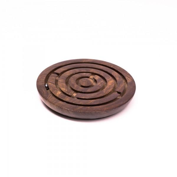 Kugellabyrinth-Spiel aus Palisanderholz, braun, Ø 15 cm