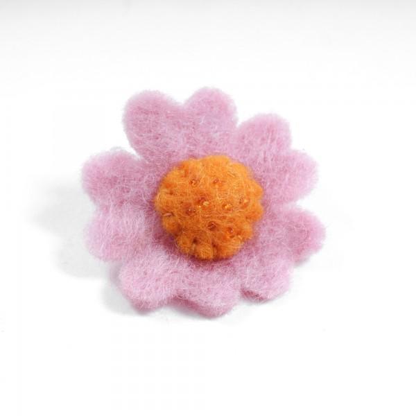 """Brosche """"Herzblume"""", aus Filz, rosa/orange"""