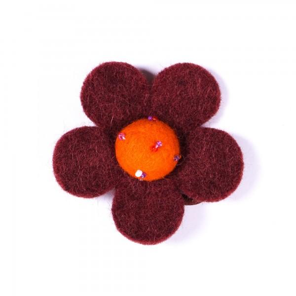 Haarband 'Blütenblatt', handgefilzt, braun, orange, Ø 8 cm