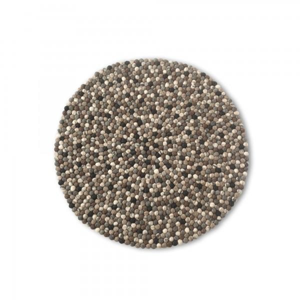 Filz-Teppich, schwarz, weiß, Ø 90 cm