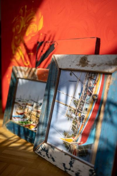 Fotorahmen aus Bootsholz, multicolor, T 3 cm, B 23 cm, H 28 cm